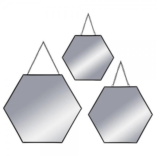 Set 3 espejos negro hexagonales 19,8x17,5cm/25x22,5cm/29,5x26cm