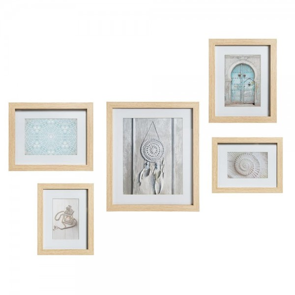 Set 5 marcos colección 'etnic' color natural 24x18,8cm/25,5x20,5cm/33,6x28,8cm