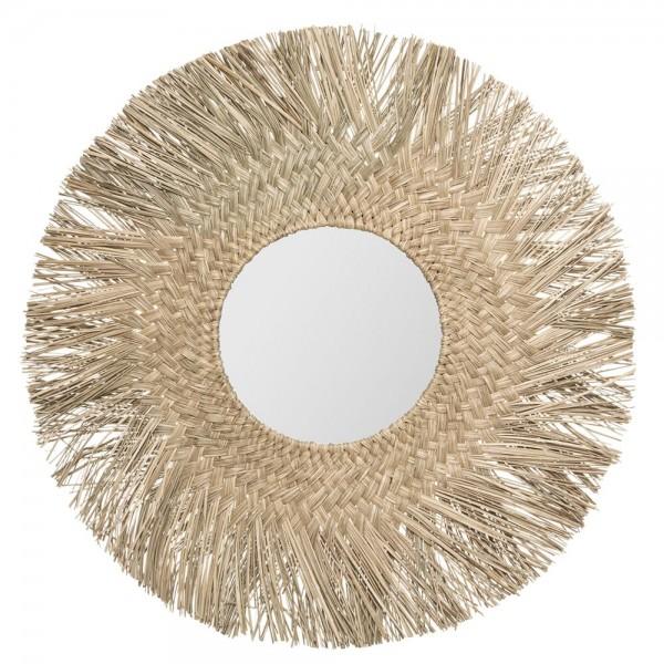 Espejo de junco natural diam.80 (diam.espejo 30cm) colección 'jungly'